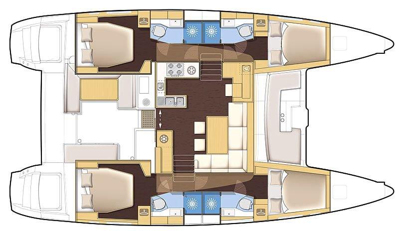 Lagoon 450 Layout | Elysia Sailing Charters Maldives