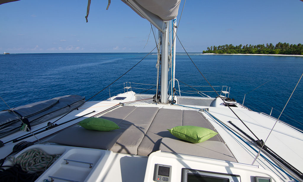 Sunbeds at the bow of the yacht | Elysia Charters