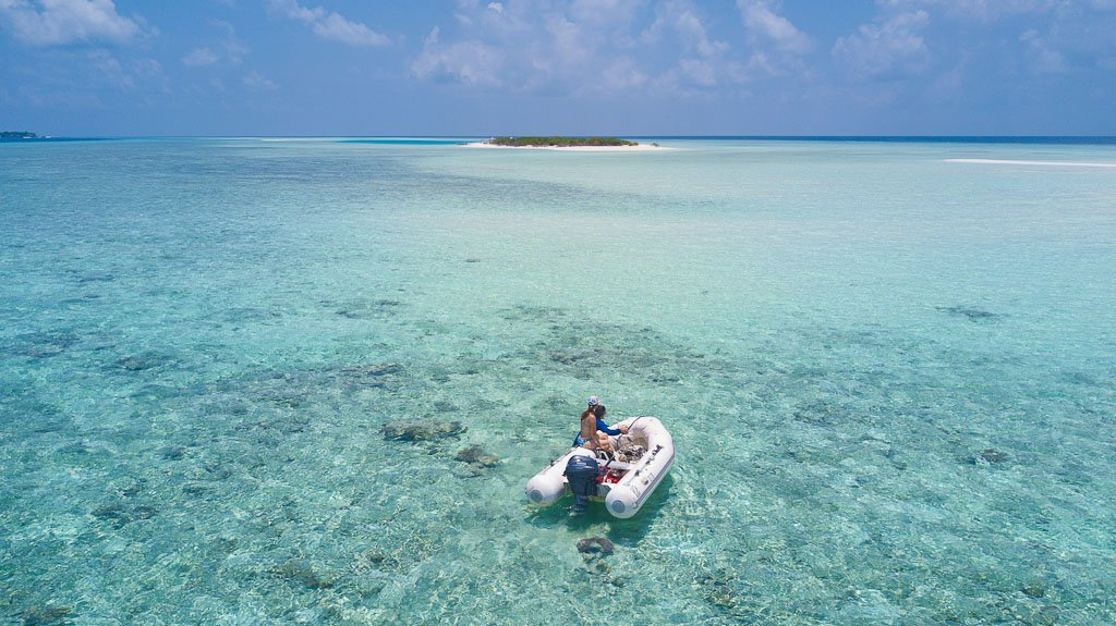 Sail and Exploring the atolls via the tender in Elysia Luxury Yacht Charters Maldives