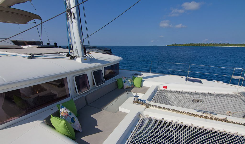 The spacious seating area up front is perfect for a sunset drink in Elysia Luxury The Yacht Charters Maldives